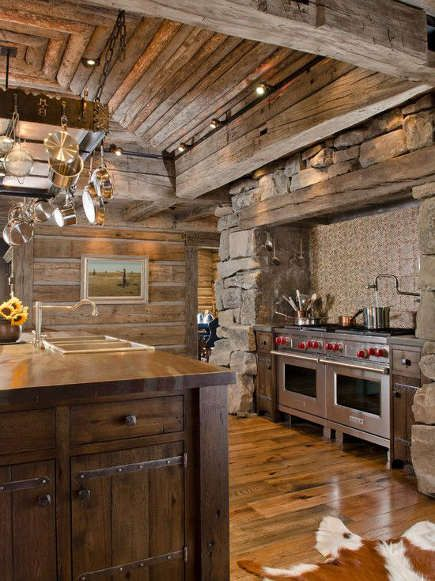 contemporary ranch kitchen log cabin style kitchen with log rh pinterest com Tuscan Style Kitchen Cabinets Refinished Kitchen Cabinets Cabin Style