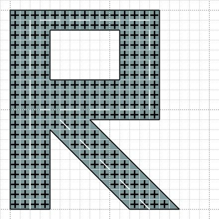 R is for road cross stitch pattern by Craft with Ruth Cartwright
