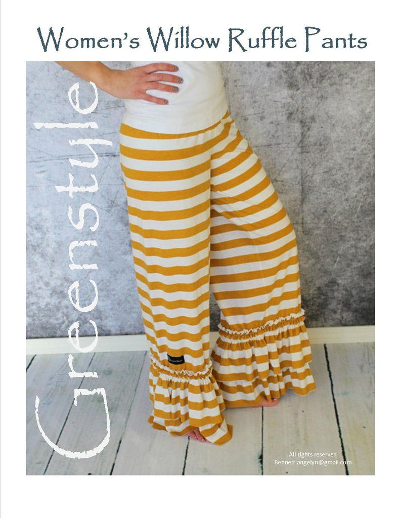 Willow Ruffle Pant Sewing PDF Pattern in Teen and Women\'s Sizes With ...