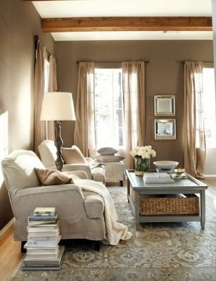 A Rustic Living Room In Warm Tones These Are My Living Room Colors. And  Love The Burlap Curtains. Massey   I Want Burlap Curtains In The Living Room !