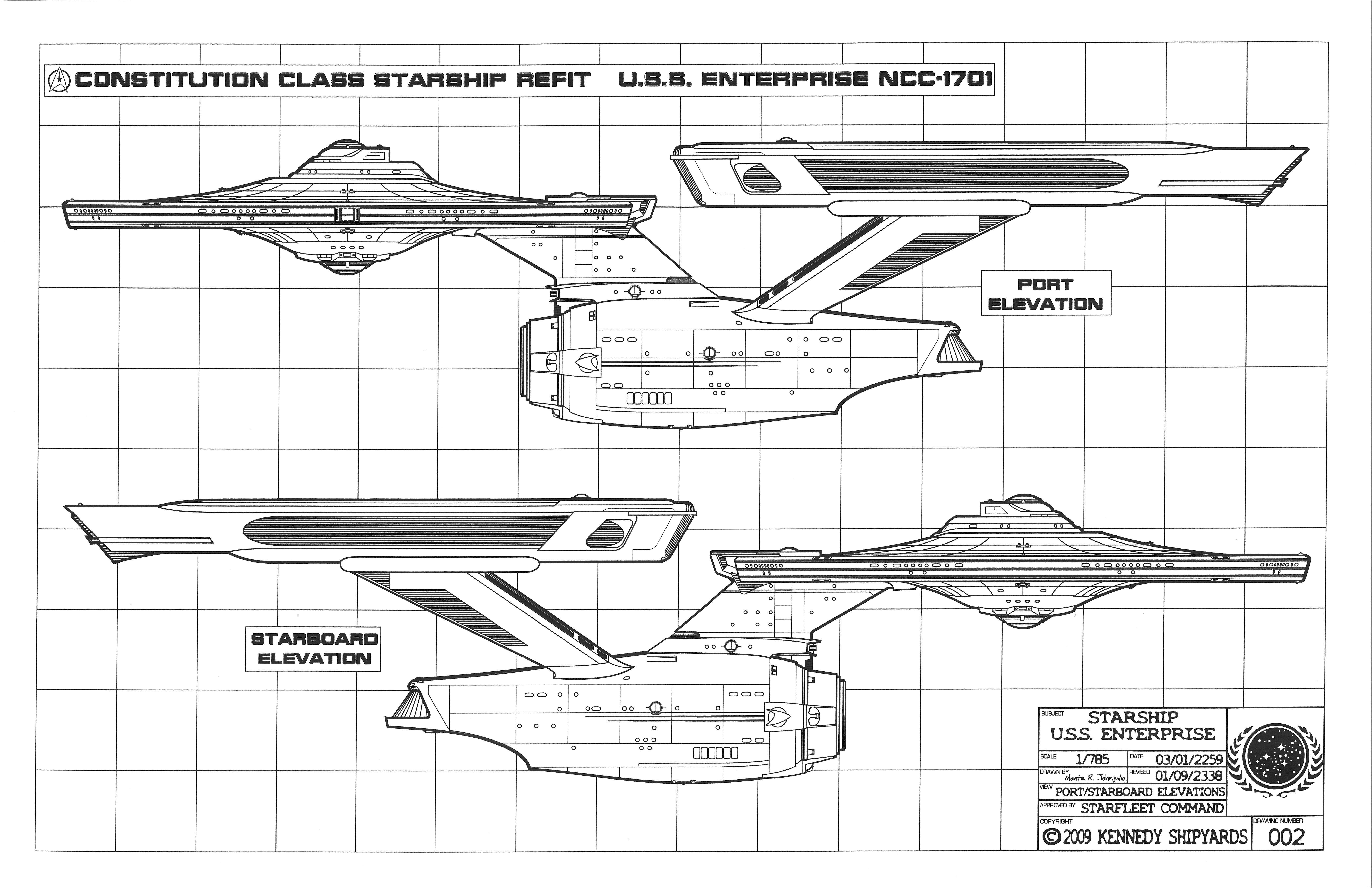 Constitution Class Starship Blueprints