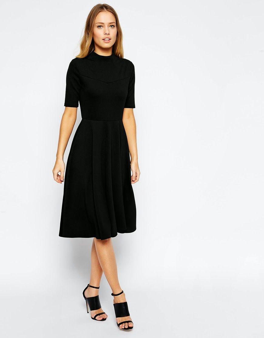 Black Midi Dress Finds High Neck Midi Dress Midi Dress Fall Short Dresses [ 1110 x 870 Pixel ]