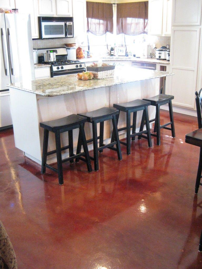 interior decorative concrete  red stained kitchen floor
