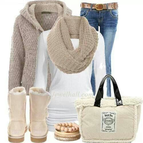 Winter outfit,Milk Color winter outfit style