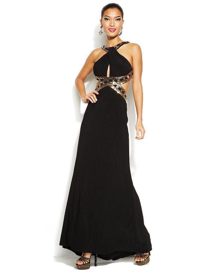 Betsy & Adam Bead-Trim Cutout Halter Gown #black #cutout #gold #bead ...