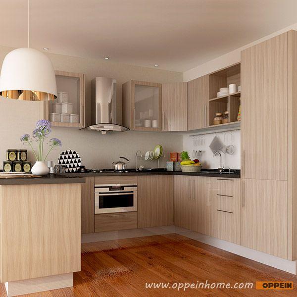 Modern Kitchen Cabinet Design: OP15-M11: Modern Wood Grain Matte Melamine Kitchen Cabinet