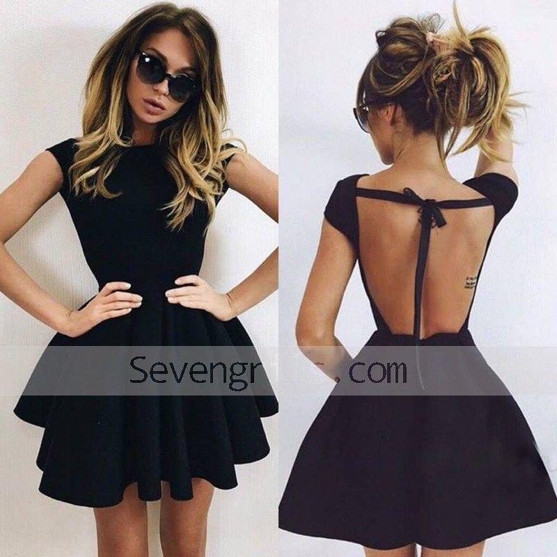A Line Scoop Backless Short Black Satin Homecoming Dress