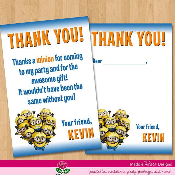 Despicable Me Thank You Card Printable By Maddierosedesignz 4 99