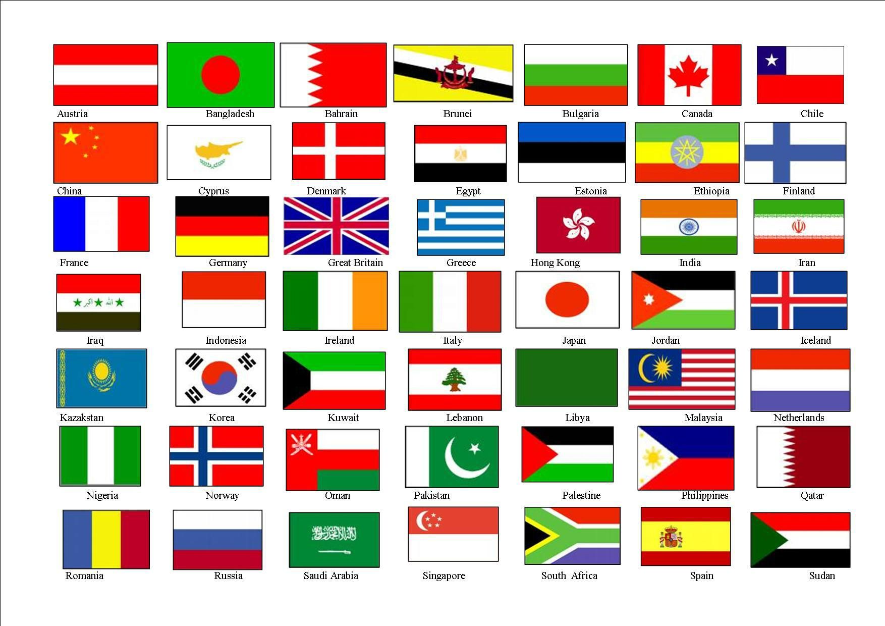 Printable List Of Wagggs Countries All Countries Flags