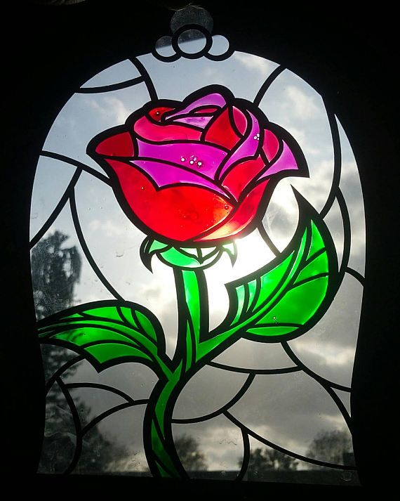 Disney Inspired Beauty The Beast Rose Imitation Stained Stained