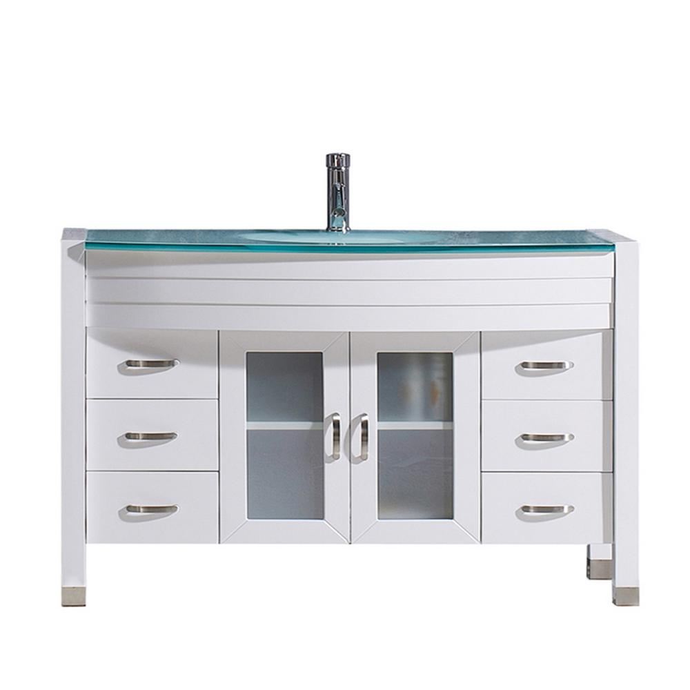 Virtu Usa Ava 47 In W Bath Vanity In White With Glass Vanity Top In Aqua Tempered Glass With Round Basin And Faucet Ms 509 G Wh Nm Glass Vanity Single Bathroom Vanity Virtu Usa