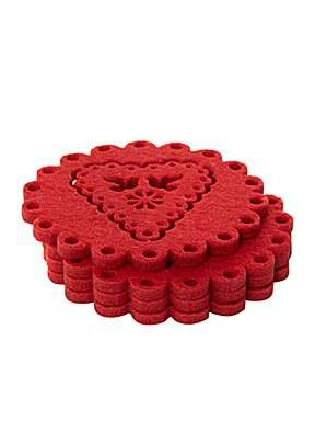 Kitchen Craft Red felt coasters set of 4 - House of Fraser | Kitchen ...