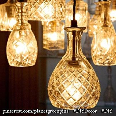 #EcoArt #DIY project of the week: THIS and so many more fun fixtures to create using old crystal and glassware.