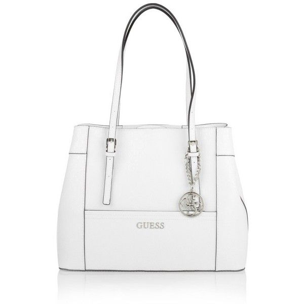 Guess Shoulder Bags Delaney Per White 145 Liked On Polyvore Featuring Handbags Ping Bag