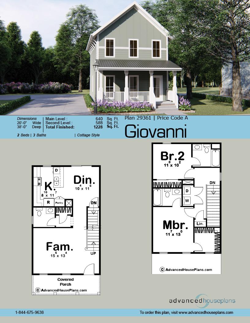 2 Story Traditional House Plan Giovanni Mini Ev Planlari Zemin Planlari Ev Plani
