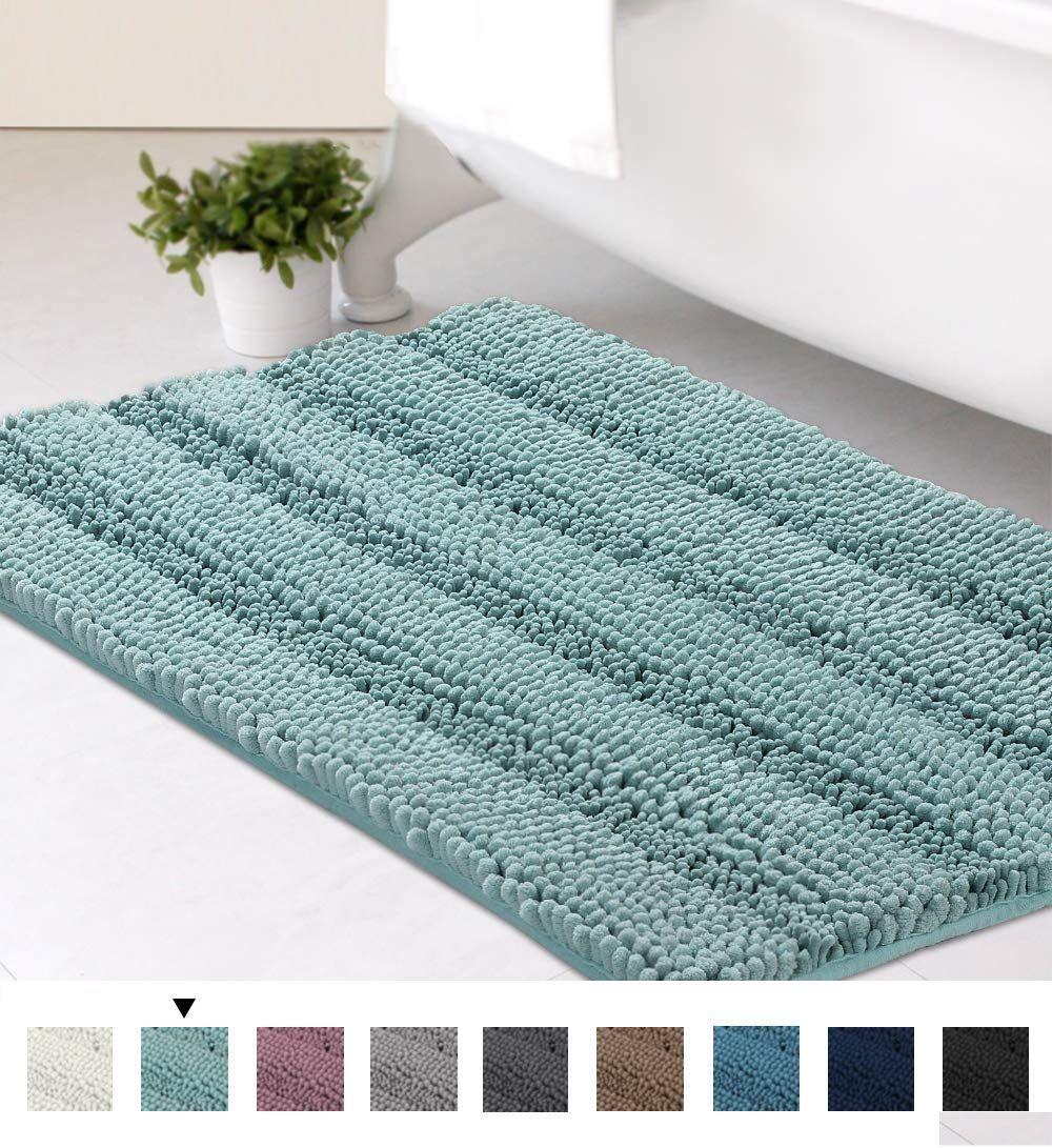 Striped Luxury Chenille Bathroom Rug Mat 20x32 Inch Extra Soft Striped Bath Rug Rugs Plush Mat [ 1091 x 1000 Pixel ]