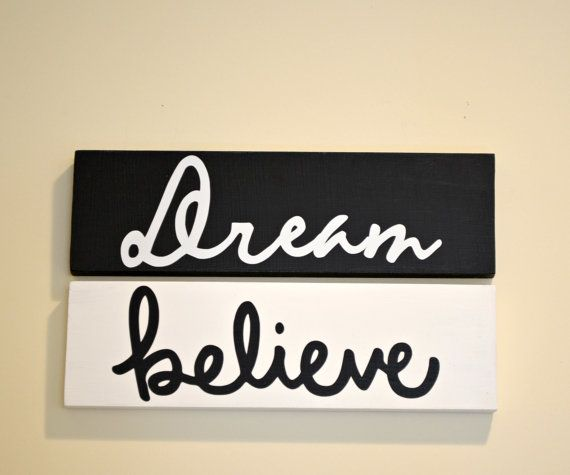 Believe Signs Decor Dream Believe Wooden Signs 2 4 X 12 Wall Decorspearcraft $1500