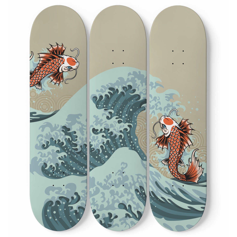 Skateboard Deck Wall Decor Art 3 Piece Customize Maple Board Etsy In 2021 Skateboard Wall Art Skateboard Art Design Skateboard Deck Art