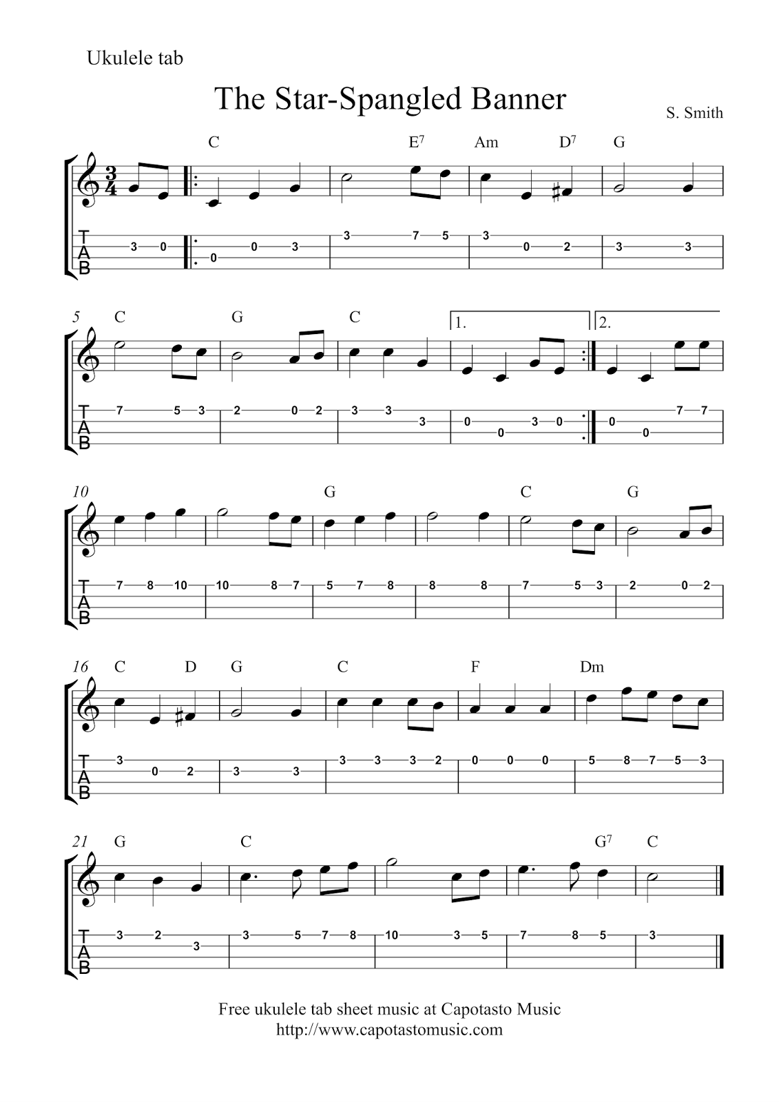 The Star Spangled Banner Free Ukulele Tablature Sheet Music With Images Sheet Music Printable Sheet Music Free Printable Sheet Music