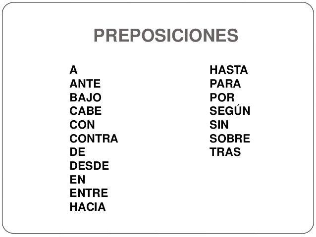 Preposiciones A Ante Bajo Cabe Con Contra De Desde En Entre Hacia Hasta Para Por Preposiciones Español Conjunciones Español Tecnicas De Enseñanza
