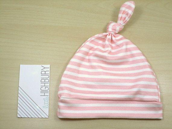Blush Pink Stripe Newborn Hat/ Baby Hat/ Organic by littlehighbury