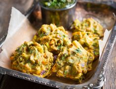 We took our favorite fried fritters and gave them a healthy makeover, without losing any of their flavor. Serve these pakoras with with a fresh chutney.