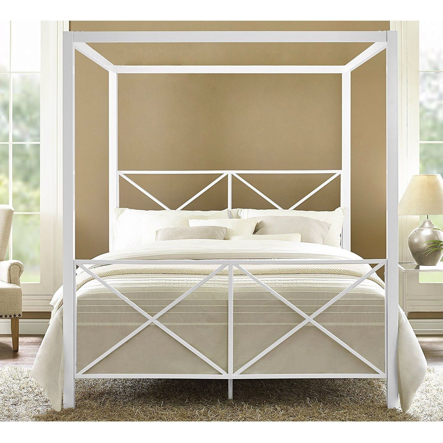 - Queen Size Sturdy Metal Canopy Bed Frame In White Canopy Bed