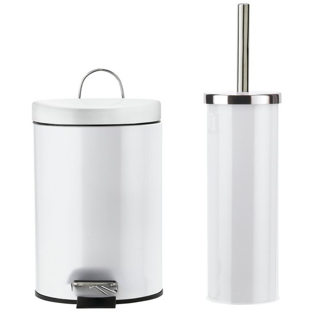Buy Argos Home Slow Close Bin & Toilet Brush Set - White ...