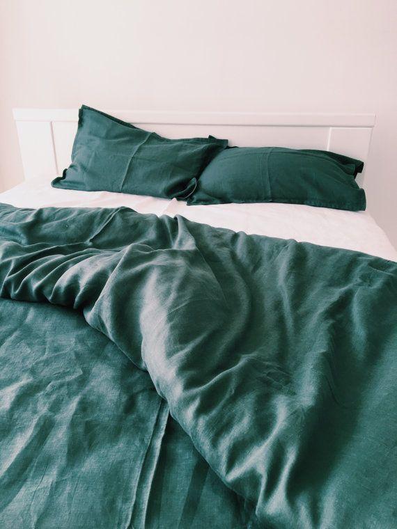 Emerald Linen Bedding Set Linen Duvet Cover And 2 Pillow Cases Dark Green Us Twin Euro Full Us Queen Us Ki Bed Linen Sets Linen Duvet Bed Linens Luxury