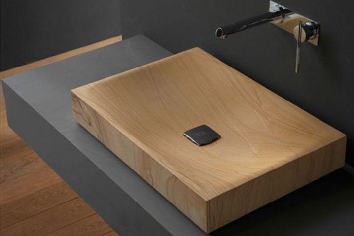 Wunderbare Holz Waschbecken Der Fur Einen Warmen Look Ihres