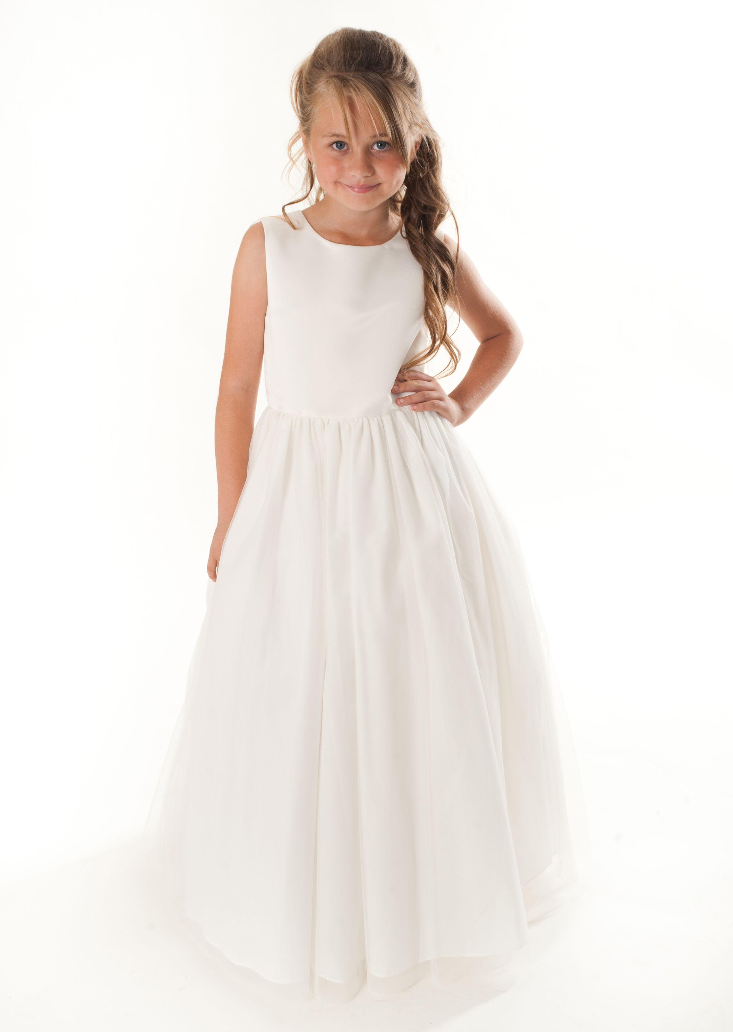 Linzi Jay Fl600 Plain Satin Tulle Flowergirl Dress Spring