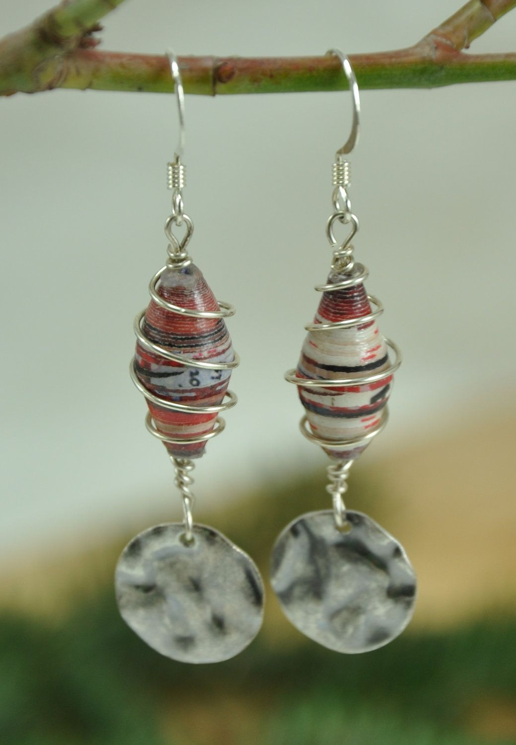 Red, black, and white striped wire wrapped paper bead earrings ...