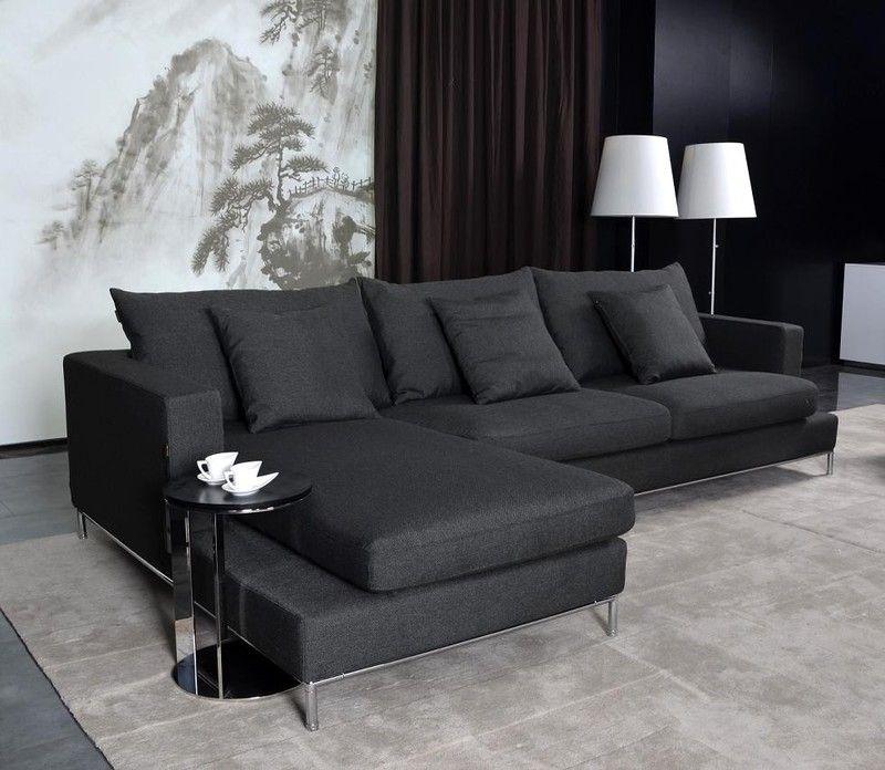 Tosh Furniture 2 Pc Modern Dark Grey Fabric Sectional Tos Anm9860 2 Black Fabric Sofa Fabric Sectional Sofas White Fabric Sofa