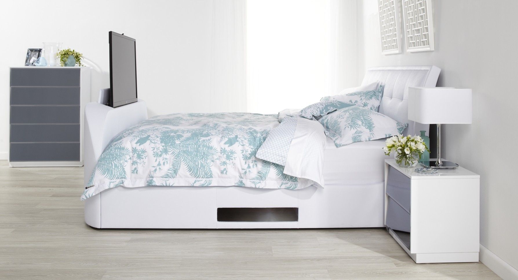 Bed With Tv Built In Lara Upholstered Kids Bed With Blue And White Patterned Linen And