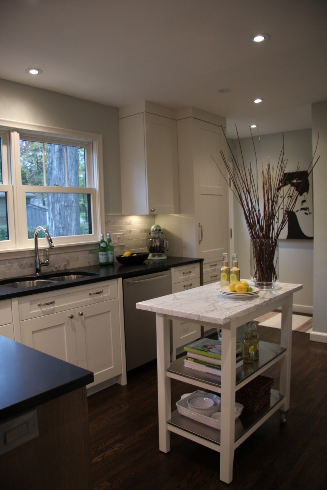 Carrera Marble Subway Tile Honed Absolute Black Granite Ikea Stenstorp 199 Kitchen Cart With A Remnant Cut To Fit The Top