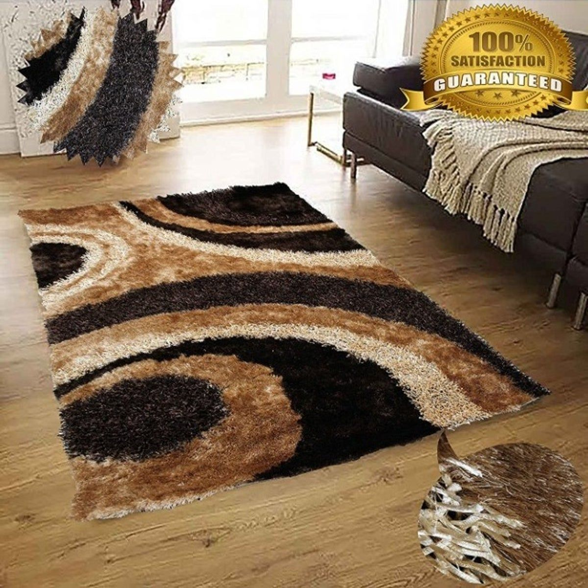 Rug Shaggy Long Pile Living Room Cheap Shaggy Check Brown White Beige