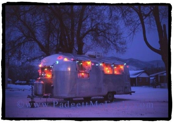 Set of 5 blue christmas airstream blank greeting cards for Airstream christmas decoration