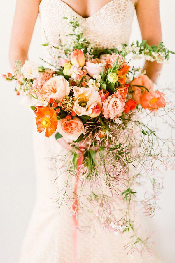 Peach Wedding Bouquet Cascading Wedding Bouquets Wedding