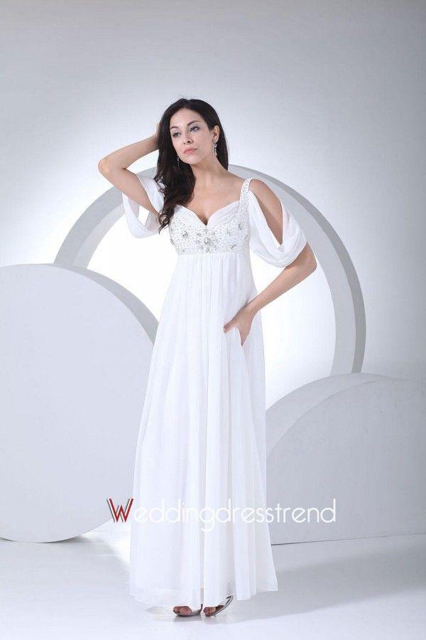 Cheap Charming Draped Ankle Length Crystal Beading Chiffon Mermaid Trumpet Wedding Dress