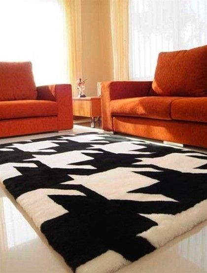 Plush Houndstooth Rug Large Print Is Nice For Home Decor