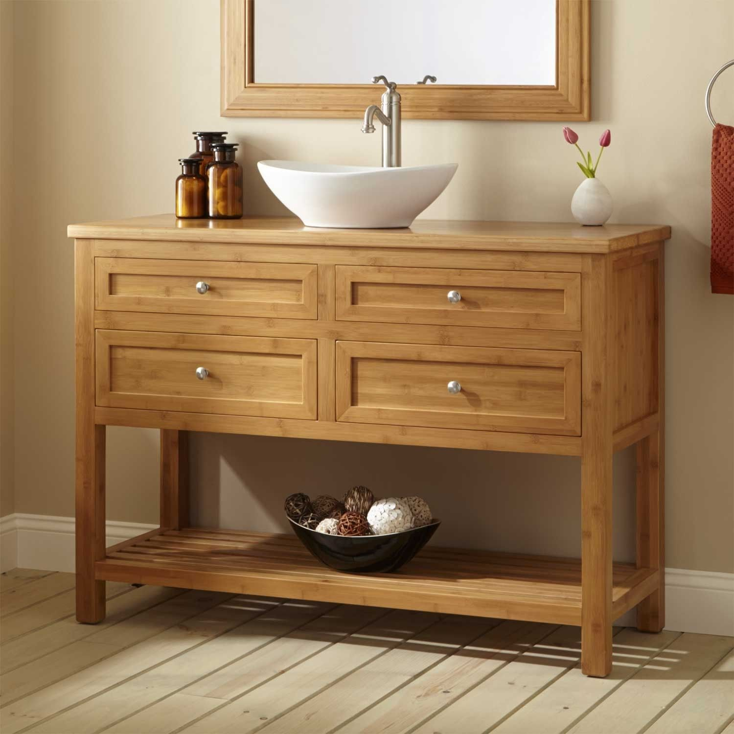 Unstained Wooden Bathroom Vanity Table With 4 Drawer And White Interesting Narrow Depth Bathroom Vanity Inspiration