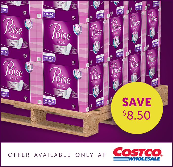 photograph regarding Poise $3.00 Printable Coupon named currently throughout 04.07.19 Keep FOR POISE® AT COSTCO AND Help save Significant