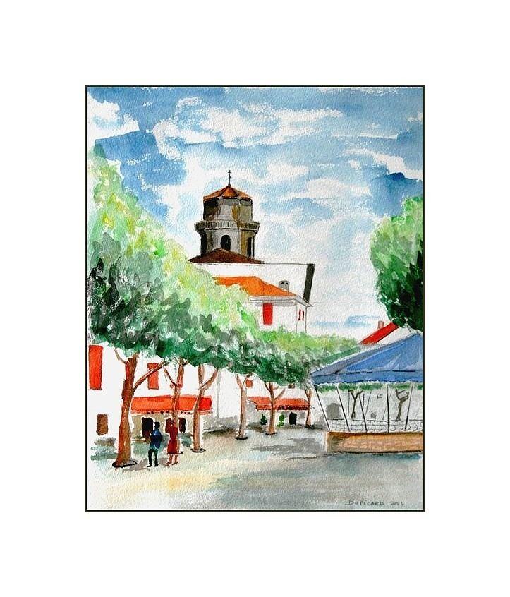 Peinture Aquarelle Grand Format De La Place Louis Xiv Saint Jean