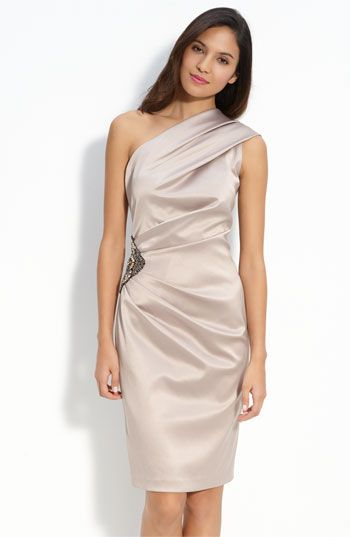 5a8a5c5881e38 Eliza J Beaded One Shoulder Satin Dress available at #Nordstrom ...