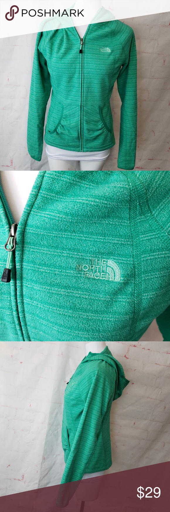 The North Face small full zip space dye green 100% polyester Name written on tag, please see photo.  Measurements are taken with fabric tape and are approximate. Armpit to armpit: 18 armit to bottom hem: 15.5 Across bottom: 18.5 Middle of the back down: 24 The North Face Tops #fabrictape