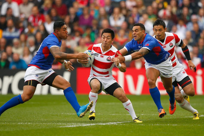 Rugby World Cup 2015 - Match Centre - Match 24 - Oct.3 2015 - Samoa 5 - Japan 26 -   GROUP B: RUGBY WORLD CUP 2015 KOSEI CORNERED: Samoa's Tusi Pisi (l) and Kahn Fotuali'i close in to trap Japan's Kosei Ono