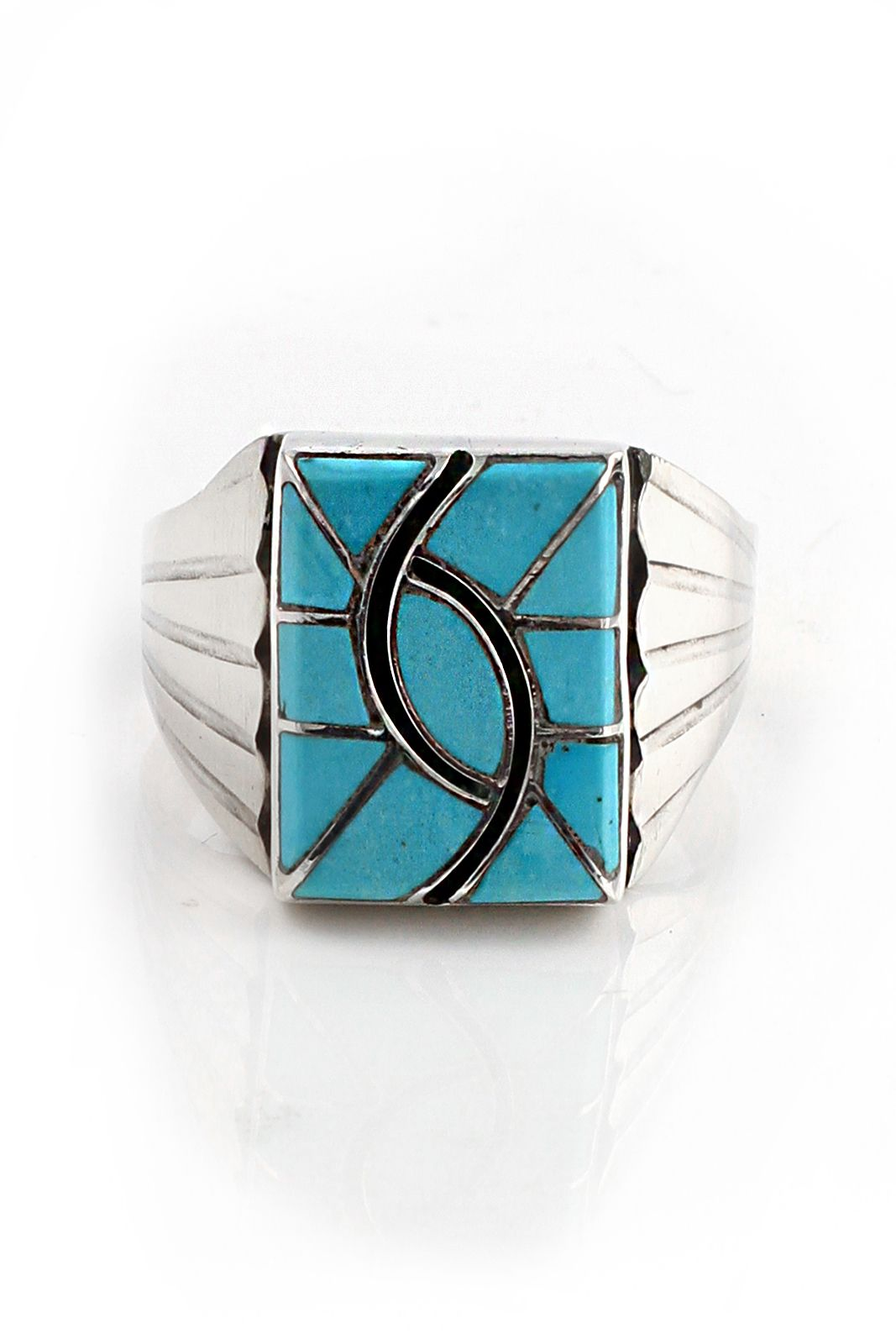 Zuni Woman/'s Inlaid Sterling Silver Ring signed N.LEE