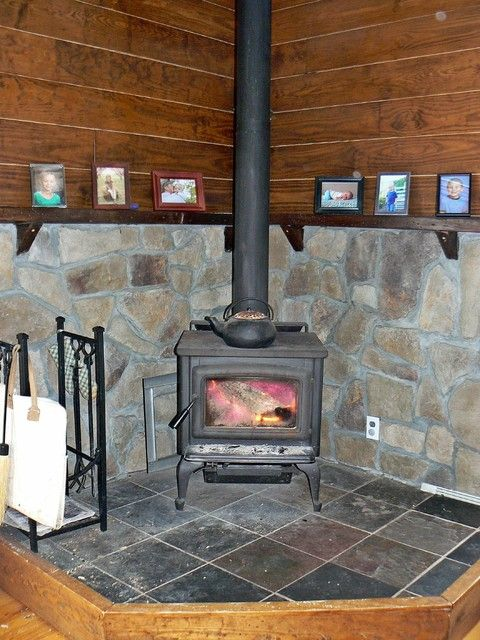 Wood Stove Backsplash Stone Surrounding And Mantle Farmhouse Other