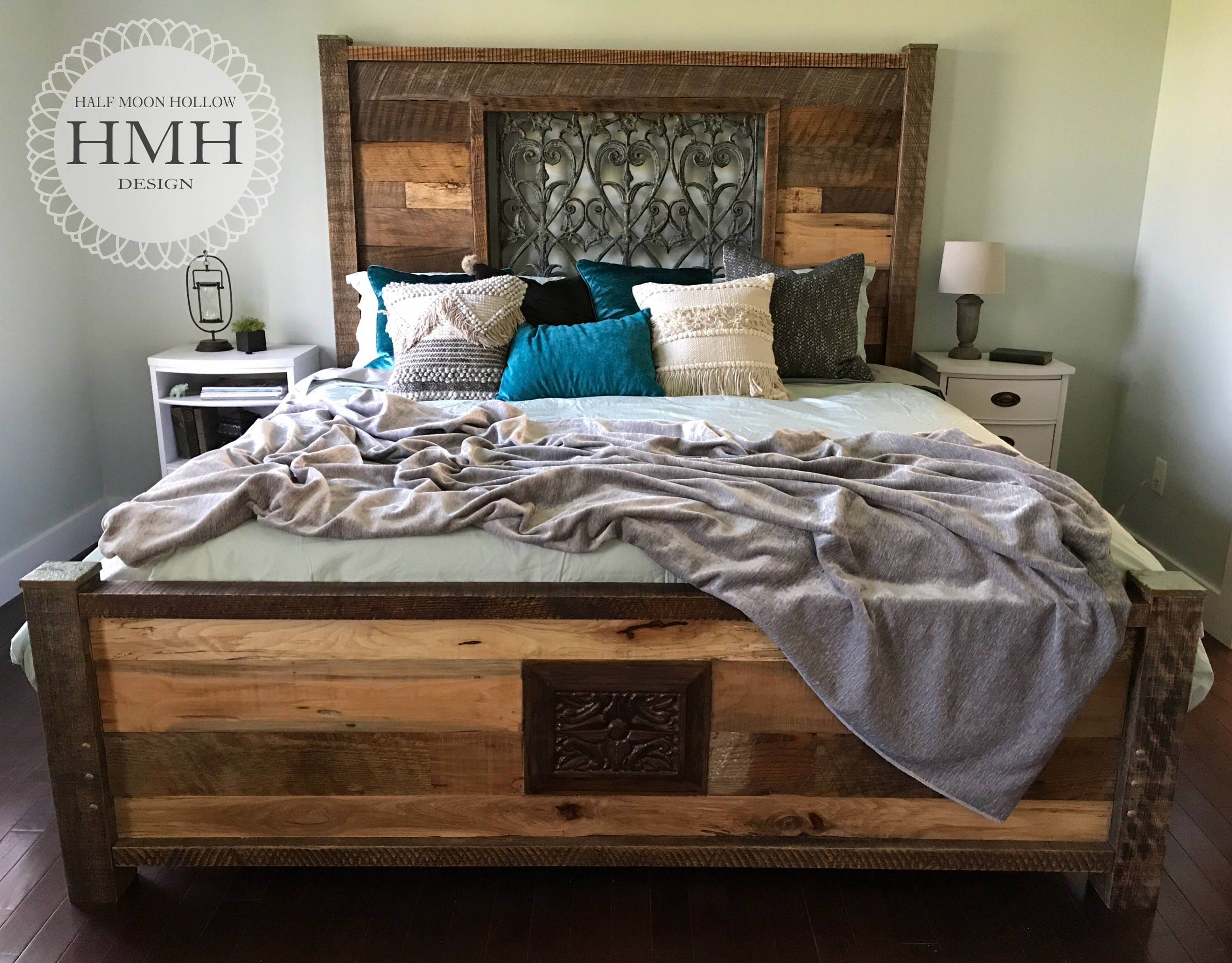 King Size Bed Eclectic Reclaimed Wood Mediterranean Farmhouse Bed Frame