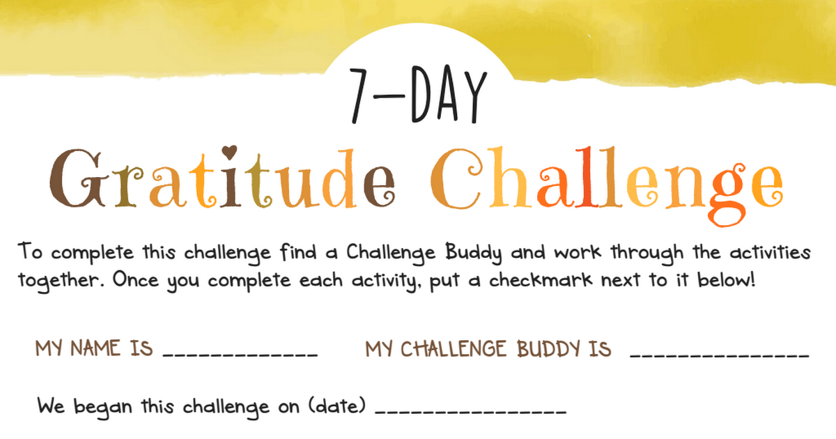7 Day Gratitude Challenge For Kids Big Life Journal Pdf Summer